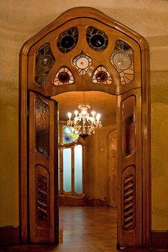 Stained glass interior doors, Casa Batillo, Barcelona, Spain. 1904-6. Antoni Gaudi.