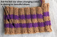 Webs Yarn Store: Tuesday's Knitting Tip – How to Knit Clean Stripes in Ribbing (When you change colors in ribbing simply knit all the stitches for the first round; do not purl. Simply Knitting, Knitting Help, Knitting Stitches, Knitting Yarn, Stitch Patterns, Knitting Patterns, Crochet Patterns, Knitting Projects, Crochet Projects