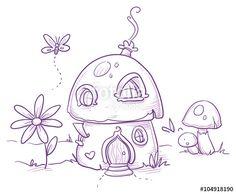 """Laden Sie den lizenzfreien Vektor """"Cute romantic mushroom house for magic fairy or gnome. Hand drawn vector cartoon doodle illustration"""" von danielabarreto zum günstigen Preis auf Fotolia.com herunter. Stöbern Sie in unserer Bilddatenbank und finden Sie schnell das perfekte Stockbild für Ihr Marketing-Projekt!"""