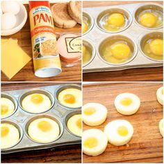 Freezable Breakfast Sandwiches: 1. Spray your muffin tin with butter spray and drop one egg in each well. 2. Bake at 300 degrees for about 25–30 mins 3. Your eggs should slide very easily from the muffin tin. Let cool and assemble your breakfast sandwiches. To reheat: Wrap the breakfast sandwiches up in paper towel and microwave them for one minute increments in the microwave.