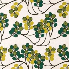 Fabric Width: Designer: Bitte Stenstrom Material: Cotton & Linen Pattern Repeat: Brand: Spira A gorgeous retro style leaf pattern fabric. Perfect for curtains, blinds and other furnishings. Fabric Patterns, Print Patterns, Textile Prints, Textile Fabrics, Green Fabric, Fabric Wallpaper, Green Backgrounds, Aesthetic Art, Pattern Design