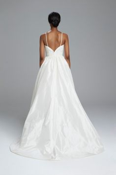"""Selena"" - Silk taffeta bridal ballgown with silk organza bodice with French lace hand appliqué"