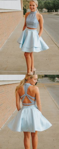 Sweet Light Blue Two Pieces Homecoming Dresses,A-Line Halter Party Dress,Short Graduation Dresses · SofieDress · Online Store Powered by Storenvy Short Graduation Dresses, Burgundy Homecoming Dresses, Two Piece Homecoming Dress, Cheap Homecoming Dresses, Hoco Dresses, Sexy Dresses, Cute Dresses, Quinceanera Dresses, Wedding Dresses