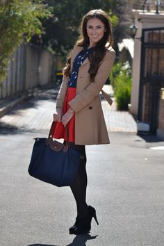Cute work outfit with Longchamp handbag