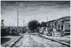 An original work by Phillemon Hlungwani entitled: Selborn Street and 10th Avenue (ALEX) II mixed media on paper 70 x 105cm. For more please visit www.finearts.co.za Fine Art Gallery, Mixed Media, Africa, Street View, Paper, Artist, Outdoor, Outdoors, Art Gallery