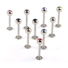 Imixlot 10pcs 18g Straight Labret Eyebrow Ear Lip Rings Body Jewelry Piercing