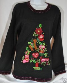 Cat Sweater, Ugly Christmas Sweater- Quacker Factory Colorful ...