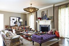"""For a couple and their young daughter, designer Nathan Turner created a richly layered living room that he calls """"traditional yet cool"""" for their 1930s Bel Air abode.    - HouseBeautiful.com"""