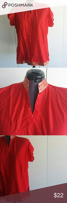 PLUS 4X TUNIC Red cotton with cap sleeves  . Gold and red braid in front  . Side slit . Will fit 3X too  Bust is 58 inches  . Length is 34 inches Made in INDIA  Tops Tunics