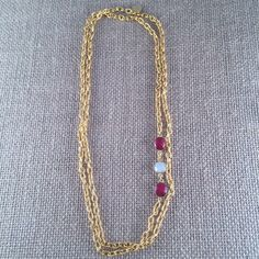 "Ruby & Baroque Freashwater Pearl Gemstone Link Chain Necklace - 22K gold plated - 42"" long - Double Wrap - Long - GRANADA I by ANIKjewelry on Etsy https://www.etsy.com/listing/295281975/ruby-baroque-freashwater-pearl-gemstone"