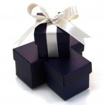 KOYAL WHOLESALE  2 PC Favor Boxes 2x2x2 - Navy Blue (Set of 10)
