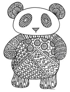 Black & White Detailed Panda Coloring Sheet