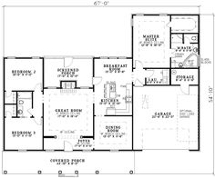 Beautiful Columns - 59105ND | 1st Floor Master Suite, CAD Available, Corner Lot, Jack & Jill Bath, PDF, Southern, Split Bedrooms, Traditional | Architectural Designs