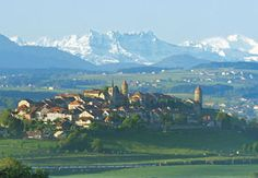 The small roman town of Romont near Fribourg, Switzerland. Switzerland, Places To See, Roman, Beautiful Places, To Go, Mountains, Nature, Travel, Viajes