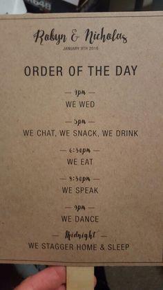 Cute order of service and doubles as a fan #adamspeakbarn #adamspeakwedding…