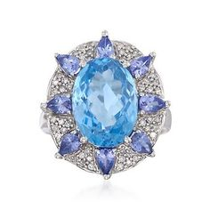 Blue Topaz Flower Ring With Tanzanites and Diamonds