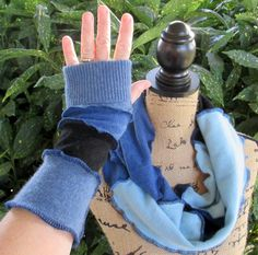 Cashmere Infinity Scarf - Fingerless Gloves Gift Set - Scarf & Arm Warmers - Upcycled Clothing - Royal Blue Denim Baby Blue - Repurposed by ThankfulRose on Etsy
