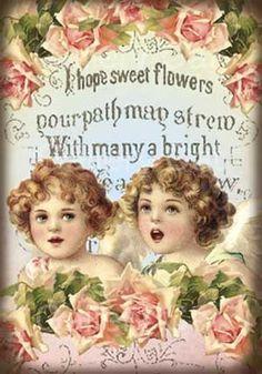 Vintage Cherubs and Roses Digital Collage Sheet Instant Vintage Tags, Vintage Labels, Vintage Postcards, Vintage Photos, Images Victoriennes, Vintage Illustration, Ephemeral Art, Victorian Dolls, Shabby