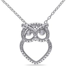 Delmar Jewelers Sterling Silver and Diamond Owl Fashion Pendant with Chain