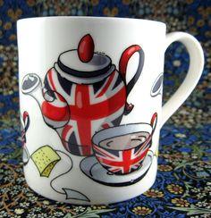 Cartoon English Flag Tea Party Mug Union Jack UK Flag Bone China England New