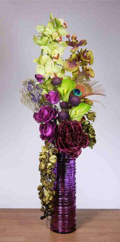 Arrangements. Centerpiece . Wedding idea . Violet + eggplant +chartreuse (accent) flowers.  Add cobolt blue.
