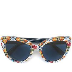 Dolce & Gabbana Majolica print sunglasses (£300) ❤ liked on Polyvore featuring accessories, eyewear, sunglasses, blue, blue cat eye sunglasses, colorful glasses, dolce gabbana glasses, blue cat eye glasses and cateye sunglasses