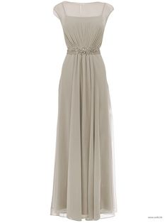 wedding pictures Cap sleeve a-line chiffon dress with beaded sash on natural waist $129.9