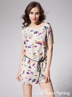 Summer fashion printing - sleeveless leisure Chiffon Dress