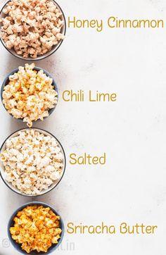 Instant Pot Popcorn (+ 3 ways to flavor it up) - CurryTrail instant pot popcorn with 4 flavors added to it pot recipes healthy Popcorn Snacks, Gourmet Popcorn, Healthy Popcorn Recipes, Sweet Popcorn Recipes, Homemade Popcorn Recipes, Cooking Popcorn, Vegan Popcorn, Popcorn Bar, Gourmet Foods