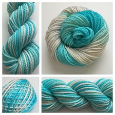 ICY - SUPER BULKY.  These are super bulky - perfect for chunky sweaters, cowls, hats or mittens. <3 Color(s): pale icy blue, light gray (I use only professional grade dyes)  Fiber(s): 100% superwash merino  Weight: super bulky  Length/yardage: +/- 106 yards, 100g skein, 3-ply  Care instructions: This can be machine washed. To make finished items keep their vibrant colors, hand wash. Lay flat and shape to dry. #yarn #crochet #knit #weaving