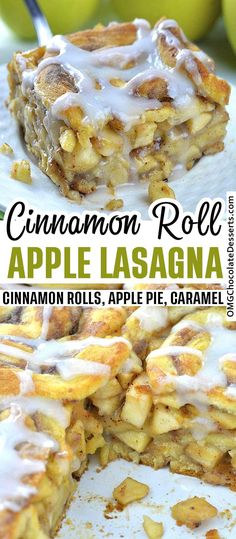 This Caramel Apple Cinnamon Roll Lasagna is like layered apple pie. Instead of a classic pie crust I used cinnamon rolls and got delicious apple pie layered treat. # This Caramel Apple Cinnamon Roll Lasagna Apple Cinnamon Rolls, Cinnamon Apples, Caramel Apples, Cinnamon Desserts, Chocolate Desserts, Cinnamon Roll Recipes, Pie Crust Cinnamon Rolls, Cinnamon Roll Cupcakes, Cinnamon Roll Casserole