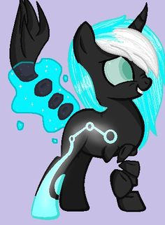 Princess Chrissy, daughter of Queen Crhysalis, shes part changeling, shes  part robot, shes 12, shes kinda evil, shes also nice