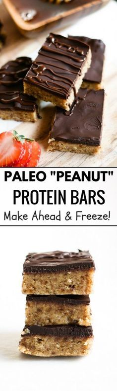"""paleo """"peanut butter"""" protein bars made with NO peanut better. Completely paleo, gluten free, and totally delicious! This easy to make snack can be made a head of time and stored in the freezer."""