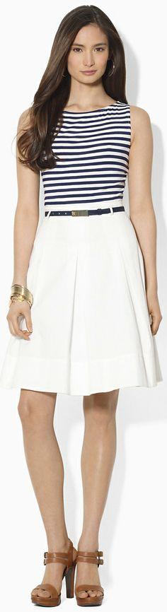 Ralph Lauren - Stripes, high waisted skirt, casual brown heels