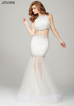 91b2f84fb50 Off white sexy two piece fully embellished prom dress with tulle skirt.