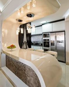 120 unordinary kitchen colors design ideas that looks cool -page 34 > Homemytri. Modern Kitchen Interiors, Luxury Kitchen Design, Kitchen Room Design, Contemporary Kitchen Design, Home Room Design, Kitchen Cabinet Design, Home Decor Kitchen, Modern House Design, Interior Design Kitchen
