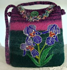 BIGGEST SALE EVER Felted Purse,Felted Tote,Felted Handbag, Iris Art,Flower Art, hand made felted purse - $152.00 USD