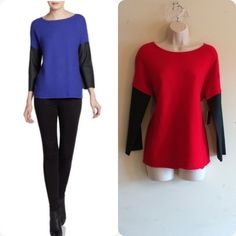 NWT Ellen Tracy Leather Sleeve Pullover Stunning lipstick red with faux leather sleeves add dimension to this gorgeous sweater. Ribbed material, long sleeves, scoop neck, 53% cotton, 40% rayon, 7% nylon. No trades. Generous discount with bundle. Ellen Tracy Sweaters Crew & Scoop Necks