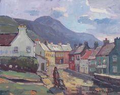 John C. Traynor, Stroll Through the Village, Ireland, oil, 12 x 16.