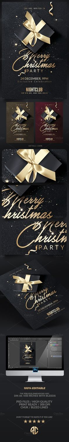 Great design ! Classy Christmas Invitation by @romecreation on @CreativeMarket https://crmrkt.com/wmOlz  #christmas #template #creativemarket