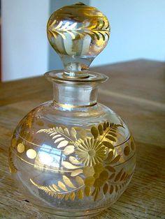 ANTIQUE CUT GLASS GILDED PERFUME BOTTLE SCENT BOHEMIAN VICTORIAN NO RESERVE | eBay
