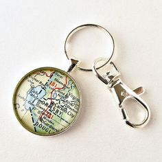Lake Tahoe Map Keychain made from 1950's vintage map / $20 by salvagedstudiomke on Etsy / Lake Tahoe vacation / Carson City / Nevada map / Tahoe / California / vacation memento / gifts under 25 / stocking stuffer gift ideas