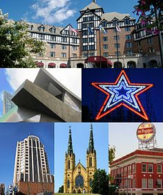 Roanoke, VA- I lived here.   The Hotel Roanoke, the Taubman Museum of Art, the Roanoke Star, the Wells Fargo Tower, St. Andrew's Roman Catholic Church, and the Dr. Pepper sign.