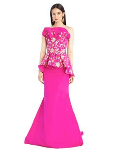 EMBROIDERED FISHTAIL SILK FAILLE GOWN