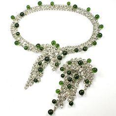 Kramer Diamante & Emerald Cabochons Cascade Necklace and Matching Pin Set $965