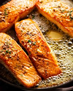Garlic Butter Salmon in a skillet surrounded by foaming garlic butter Sauce For Salmon, Butter Salmon, Salmon Pasta, Quick Salmon Recipes, Seafood Recipes, Cooking Recipes, Keto Recipes, Shellfish Recipes, Healthy Recipes