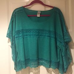 Free People lace green shirt! never worn, perfect condition green Free People lace shirt! Size: Small Free People Tops Blouses