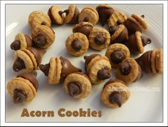 Perfect for the kids to make this fall. Fun Thanksgiving day activity too. Very easy to do.  Acorn cookies with hershey kiss & nutter butter cookies