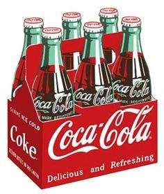 Coca Cola Coke Carton 6-Pack Bottles Cartel de chapa