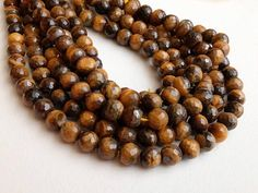 7mm Tigers Eye Faceted Round Beads Natural Tigers Eye Beads